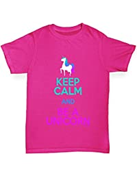 TWISTED ENVY Keep Calm and Be A Unicorn Girl's Printed Cotton T-Shirt, Comfortable and Soft Classic Tee With Unique Design