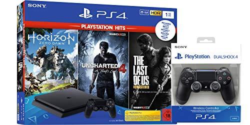 PlayStation 4 - Hits Bundle (1TB, schwarz, slim) inkl. 2. DualShock 4 Controller und Uncharted 4, The Last of Us, Horizon Zero Dawn