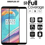 Bracevor Oneplus 5T Tempered 5D Glass | One Plus 5T | Premium Full Front Body Cover | Edge To Edge Screen Guard Protector - Black