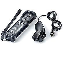 PYRUS 2in1 controlador Nunchuck y Built-in Motion Plus Remote Set para Nintendo Wii y Wii U consola con caja de silicio, negro