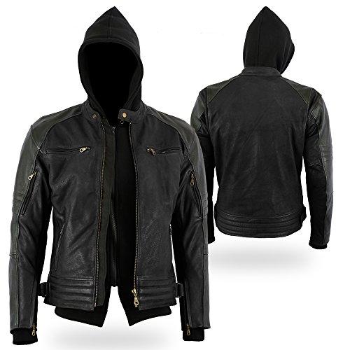 Bikers-Gear-The-Craig-giacca-moto-nabuk-cerato-in-pelle-bovina-con-cappuccio-rimovibile-con-5-punti-Armour-CE-1621--1-grande-colore-nero-misura-UK40-EU50