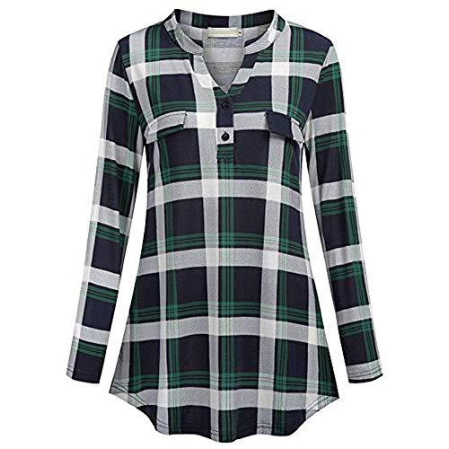 590d9c12b2 Toamen Womens Shirt Tops Sale 2019 Newest Ladies Button V Neck Long Sleve  Casual Roll-