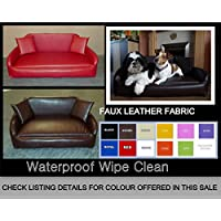 Zippy All Faux Leather Sofa Dog Bed - Extra Large - BLACK