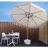 Parasol sombrilla | Arena / Beige| Ø 300 cm | Redondo | SORARA | Poliéster de 180 g/m² (UV 50+) | Mecanismo de péndulo y manivela (excl. base)