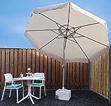 Sonnenschirm Parasol | Sand / Beige | Ø 300 cm / 3m | Rund | SORARA - PALERMO | Polyester 180 g/m² (UV 50+)| Kurbel & Pendel (excl. base)