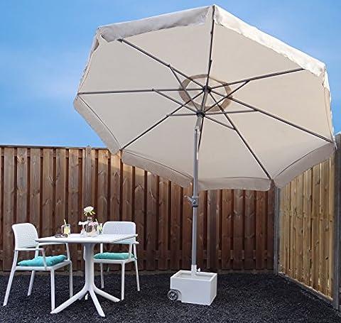 Parasol Jardin | Sable / Beige | Ø 300 cm / 3m | Rond | SORARA - PALERMO | Polyester 180 g/m² (UV 50+)| Commande à Manivelle (Pied