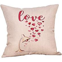 DIPOLA Funda de Almohada Happy Valentine Funda de Cojín Sweet Love Square Creando un Ambiente Hogareño
