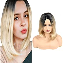 Peluca Rubia Synthetic Lace Front Wigs Straight Bob for Women Natural Looking Black Roots to Blonde