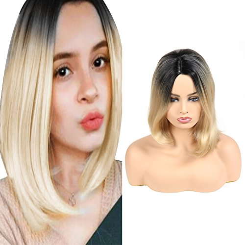 Short Bob Synthetic Hair Lace Front Wig for Girls Shoulder Length Natural Looking Black Roots to Natural Blonde Middle Part Heat Resistant Wie echtes Haar 16 inches ()