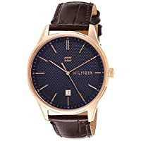 Tommy Hilfiger Mens Quartz Watch, Analog Display and Leather Strap 1791493 (Brown/Rose Gold)