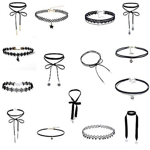 MingJun 15 pièces en velours noir en dentelle Tattoo Choker Collier Set Handmade classique ruban réglable gothique pour femmes