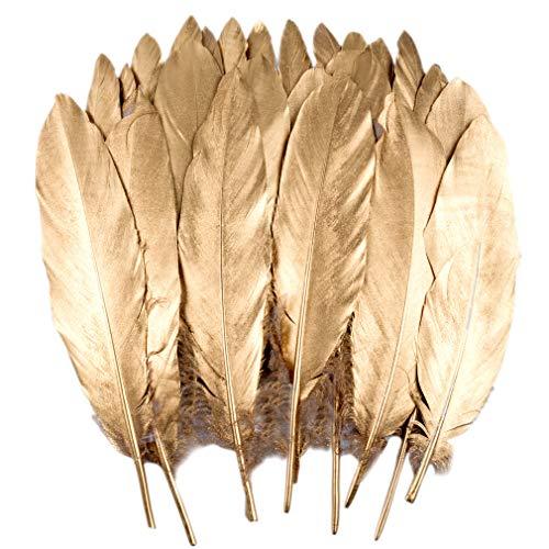 Totofy 60 Federn basteln Federn Gans Federn Gold,ideal als Dekoration zum Karnival für Halloween Fest Masken, Kostüme und Basteln für Kinder,Ohrringe und Hochzeit Geburtstag Festival (H-60PCS)