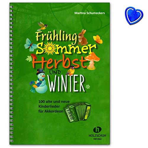 Frühling, Sommer, Herbst und Winter - Liederbuch für Akkordeon mit bunter herzförmiger Notenklammer - VHR1864-9783864340994