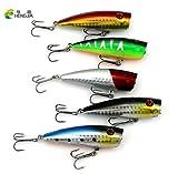 HENGJIA 5Pcs Laser Reflective Popper Fishing Lure 7cm 9g TopWater Vibration Hard Bait Poper Bait Crankbait Fish Lure