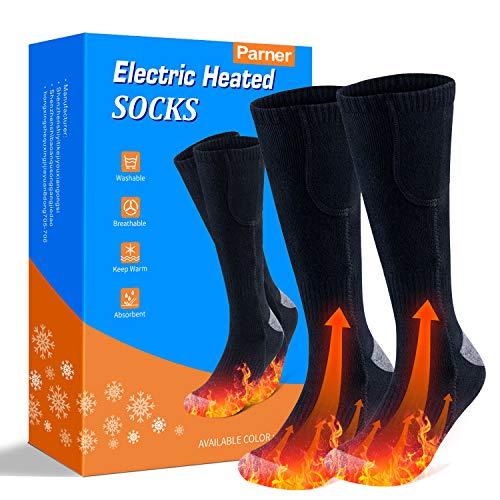 Beheizte Socken, Elektrische Warme Socken, Elektrische Wiederaufladbare Batterie Thermische Socken, Fußwärmer Socken Heated Socks mit 3 Dateien Einstellbarer Temperatur für Damen Herren. (Schwarz)