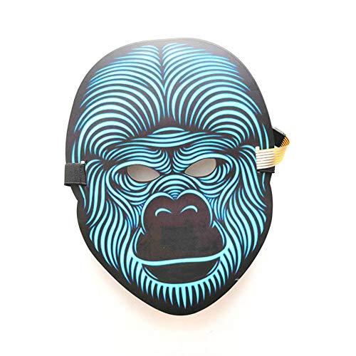 (WANGXN LED Maske Ton Reagiert Flashing Maske Für Kunst Musik Rave Party Weihnachten Tanzen Gesichtsmaske,Blue)