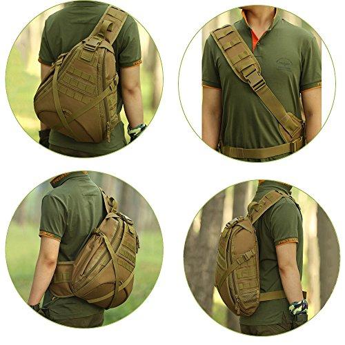 Wotow Borsa a tracolla, tattica, stile militare, per caccia campeggio, equitazione, trekking, viaggiare, Black - marrone
