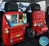 Yuany Auto Speicherorganisator, Auto-Rücksitz-Organisator 2pcs, Auto-Rücksitz-Schutz-wasserdichte Tritt-Matten mit Multi Taschen 2 Art Tablette-Halter-Rot