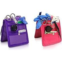 Pack 2 organizadores de enfermería Keen's para bata o pijama | Colores: 1 morado y 1 rosa | Lote ahorro | Medidas: 14,5 x 12 cm | Elite Bags