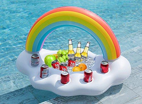 Jasonwell Aufblasbare Regenbogen Wolke Getränkehalter im coolen Rettungsring Schwimmende Getränke Salat Obst Servier Bar Pool Party Zubehör Sommer Freizeit Becher Wasser Spaß Dekorationen