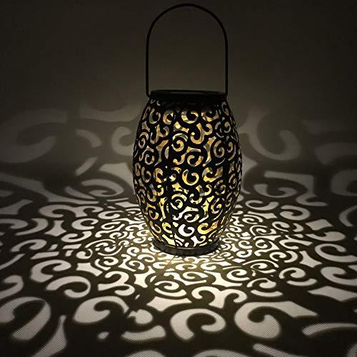LYXMY LED Laterne Solar-Windlicht, Vintage-Hängende wasserdichte Lampe marokkanische Silhouette ausgehöhlte Wolke Landschaft Outdoor Terrasse Garten Beleuchtung, Schwarz, Free Size