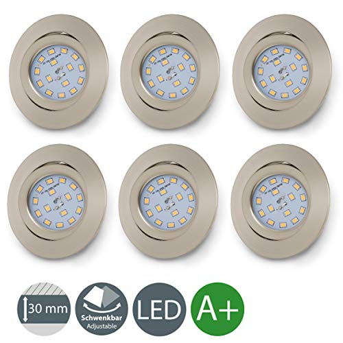 Foco empotrable extraplano Ø 82 mm, 6 x 5W Bombillas LED 3000K,...