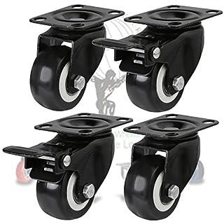4 x Heavy Duty 200kg 50mm Swivel braked Castor Wheels Trolley Furniture Caster Rubber