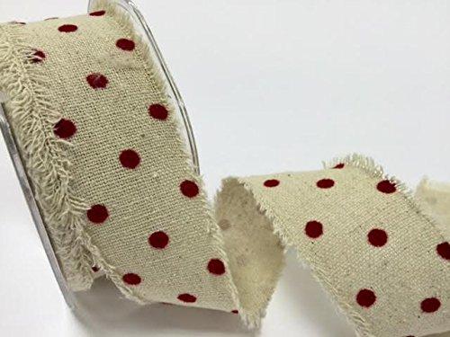 Bertie' s Bows Nastro Rosso A pois bordo grezzo naturale in iuta 3M di lunghezza (tagliato da un rotolo)