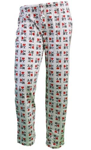 I love NY New York Lounge Pants Herz Pyjama, Hose weiß, Weiß, nycfactory-ilny-unisex-lounge-white-s (Lounge-hose Herz)