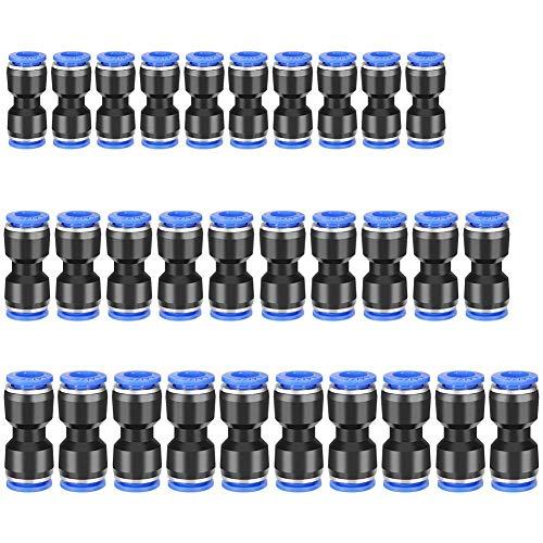 30pcs Pneumatische Fittings Push in Fitting 6/8/10 mm Steckverbinder für 1/4 5/16 3/8 Luft Wsser Schlauchanschluss