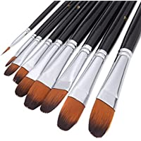 Brosse à peinture professionnelle artiste noir - 9 pièces, poignée longue, brosses parfaites pour l'aquarelle, les acryliques, la peinture à l'huile, la gouache,