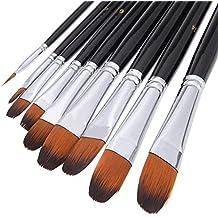 Pinceles profesionales pinceles de artista negro-9 piezas, mango largo, pinceles perfecto para acuarela, acrílicos, pintura al óleo, guache, paleta de pintura incluido. Adecuado para principiantes, artistas y estudiantes
