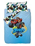 Nickelodeon Blaze Drive Funda nórdica, Algodón-Poliéster, Azul, Cama 80/95 (Twin), 200.0x90.0x25.0 cm, 3 Unidades