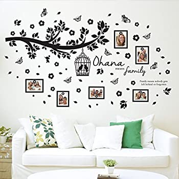 Walplus Wall Stickers Ohana Family Tree Wall Art Murals Removable  Self Adhesive Decals Nursery Kindergarden Kids Room Restaurant Cafe Hotel  Office Home ...