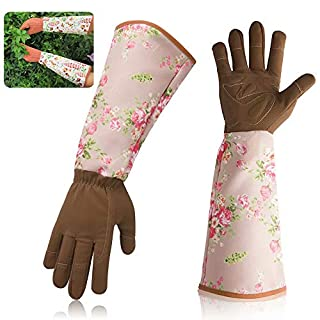 Professional Rose Pruning Thorn proof Gardening Gloves with Extra Long Forearm Protection for Women Men - Puncture Resistant, Medium Size