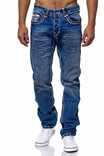 n Männer Jeans Basic Streetwear Dicke Nähte Regular Fit, Größe:W38/L32, Farbe:Blue 2 (Herren Blue Jeans 32x32)