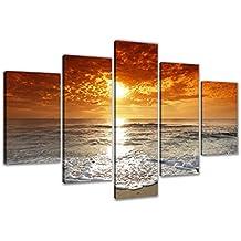 Visario 6311imagen sobre lienzo playa enmarcado imágenes 5piezas Marca Original, 200x 100cm