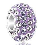 PoeticCharms 925 Sterling Silber Multicolor Kristall Herz Love Charm Perlen für Europäische Charm Armband/lila