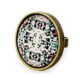 Miss Lovie Damen Mädchen Modeschmuck Schmuck Vintage Kaleidoskop Ring Verstellbar Red - 25x25mm Cabochon Bronze