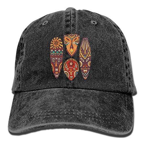 Hoswee Unisex Kappe/Baseballkappe, Decorative Mask Designs African Aborigine Art Patterns Cultural Cute Cowboy Hat Cap Black
