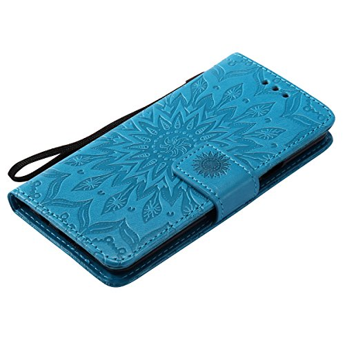 Coque Cuir Etui Pour Samsung Galaxy A3,Galaxy A3 2017 Portable Coque Housse,Ekakashop Jolie Rouge Tournesol Painting Bookstyle Rabat Shell Silicone Etui Flip Cover Smart Case Housse de Protection Port Bleu