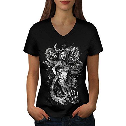 Küken Mädchen T-shirt (Satan Hölle Mädchen Fantasie Gote Küken Damen L V-Ausschnitt T-shirt | Wellcoda)