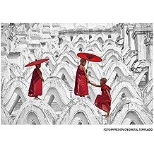 Cuadro zen oriental rojo de cristal para salón de 120 x 80 cm Sol Naciente - Lola Derek