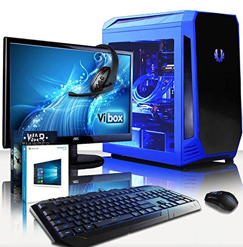 Preisvergleich Produktbild VIBOX Lupus 81 Gaming PC Computer mit Spiel Bundle,  Windows 10 OS,  22 Zoll HD Monitor (4, 2GHz Intel i7 Quad-Core Prozessor,  Nvidia GeForce GTX 1080 Grafikkarte,  32Go DDR4 RAM,  240GB SSD,  3TB HDD)