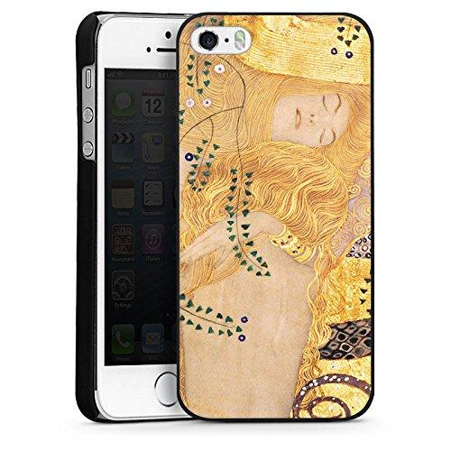 Apple iPhone 5 Housse Étui Silicone Coque Protection Klimt Serpents d'eau Art CasDur noir