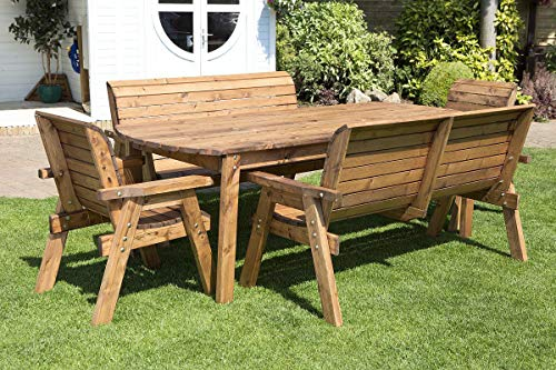 Home Gift Garden 8 Seater Large Wooden Dining Table Bench and Chairs Set - Solid Wood Outdoor Patio Decking Furniture