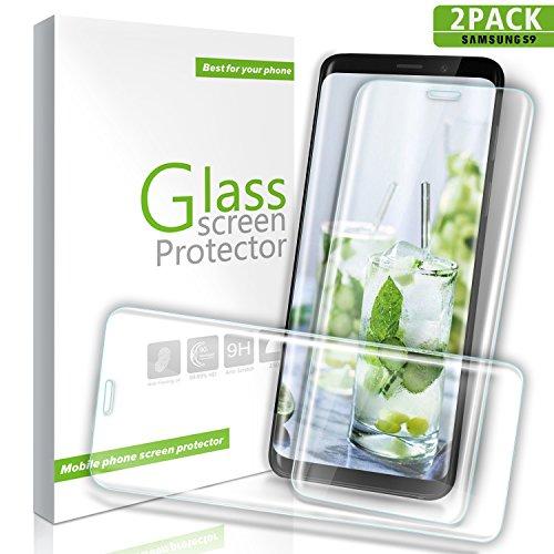 Youer Galaxy S9 Panzerglas Schutzfolie, [2 stück] Ultra-dünne Premium Gehärtetem Glas Displayschutzfolie, 9H Härte, Anti-Kratzer, Ultra-klar, Blasenfreie für Samsung Galaxy S9