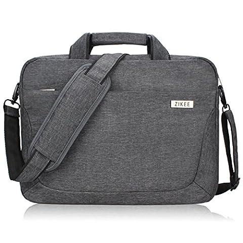 Zikee 39,6 cm (15,6 Zoll) wasserfeste und 360° stoßfeste Messenger-Bag als Schutz für Ihren Laptop/Notebook mit Handgriff und Schultergurt für Schule, Studium, Reisen und im Büro und für geschäftliche Nutzung (Grau)