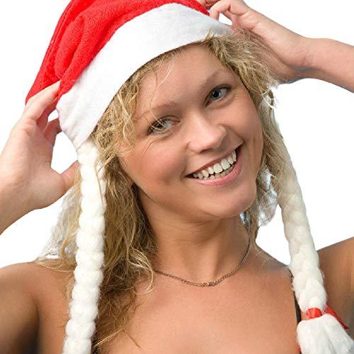 Hmeng Weihnachtssankt-Hut, ökonomische Traditionelle Rote u. Weiße Weihnachts-Weihnachtsmann-Kappe für Feiertags-Party (ROT)