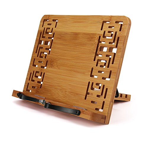 DIMJ Klappbare Bambus Kochbuchhalter, Kleine Größe, Einstellbare Leseständer für Kochbuch, Rezept, iPad, 28cm x 20cm x 4cm - Rezept-halter Für Ipad